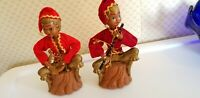 "Vtg MCM Christmas Elf PIXIES Lobeco Piggybanks 1960s 8"" flute lyre"
