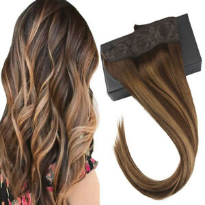 Sunny Halo Human Hair Extensions  Invisible Wire & Clips Ombre Balayage #4/27/4
