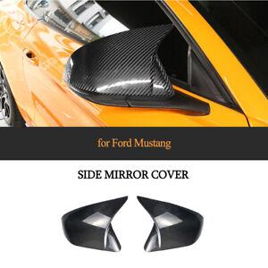Paar Carbon Spiegelkappen Passt Für Ford Mustang 15-20 Außenspiegel Mirror Cover