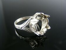 R63 Ring Setting Sterling Silver, Size 9.25, 14x10 Mm Oval Stone