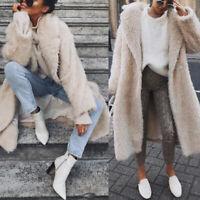 Womens Winter Warm Teddy Bear Faux Fur Long Jacket Fluffy Trench Coat Overcoat