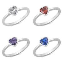 Heart Promise Ring New .925 Sterling Silver Solitaire Wedding Engagement Band