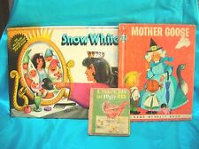 3 Vintage Books 1983 Pop Up Book,Snow White 7 Dwarfs,Czeck,Mother Goose-Fuzzy He