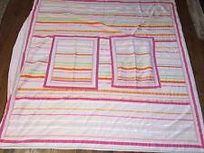 Pottery Barn Pb Teen Ribbon Full Queen Striped Duvet Cover & Pillow Sham Set
