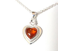 Sterling Silver Necklace Genuine Baltic Amber Heart Gemstone Pendant