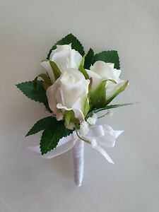 1x Silk White Rose Wedding Bridal Flower Mothers Dress Corsage or Buttonhole
