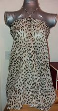 Ladies Dorothy Perkins Bandeau/Boob Tube Leopard Top with Glitter-Size 10-12