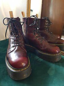 Dr Martens Vegan Jadon II Cherry Red Platform Boots Size 7 GC (Authentic)
