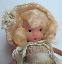 Bisque Nancy Ann Story Book Doll Dainty Dolly Pink & Blue, Frozen Leg, on stand