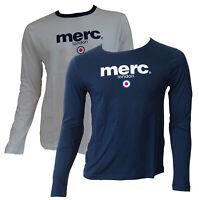 T-shirt Maglia Maniche Lunghe MERC London 100% Cotone Uomo Men Blu Blue Bianco W