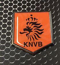 "Holland KNVB Flag Domed CHROME Emblem Proud Flag Car 3D Sticker 2""x 2.25"" ORANJE"