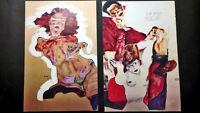 Dos litografías de Egon Schiele -Female Nude-The Red Host- Portafolio -Erotica -