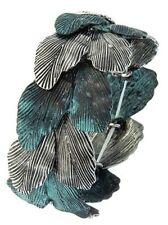 Patina Copper Silver Etched Leaf Green Cluster Fashion Jewelry Bangle Bracelet