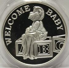 Welcome Baby Newborn 1 Oz .999 Silver Round - Art Medal - Bear & Blocks - Gift