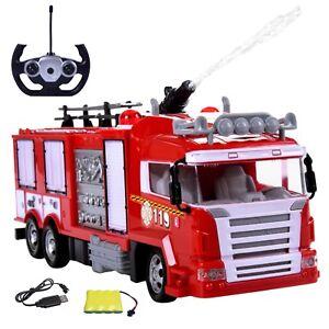 RC ferngesteuertes Feuerwehr Auto mit Licht Sirene Wasserspritz  Akku Ladegeräte