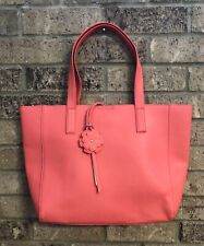Avon Large Coral Leather Fiber Tote Bag Handbag w/Charm *NEW*