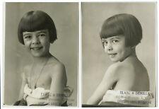 4 photos étude de portrait petite fille souriante Blanc et Demilly Lyon 1930