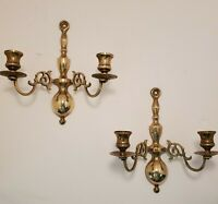 PAIR VINTAGE BRASS DOUBLE CANDLE HOLDERS WALL SCONCES - 9 inches