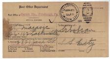 1915 Pittsburgh PA Serbian Publisher Notification Address Change PO penalty card