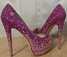 Philipp Plein Fuchsia Pink Suede Peep Toe Crystals Pumps Heel Ss.36 1/2/6.5