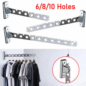 6/8/10 Holes Folding Wall Mounted Clothes Hanger Holder Rack Multifunctional