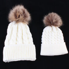 Fur Pom Bobble Hat 2PCS/Set Mom&Kids Baby Boys Girls Winter Warm Knit Beanie Cap
