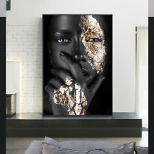 African Woman Poster Black Golden Abstract Canvas Painting Modern Wall Art Print
