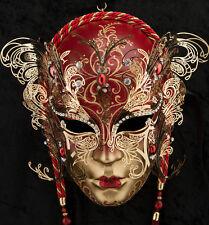 Masque de Venise Visage Papillon Rouge et Dore-papier Mâché Métal -GARPTE-2058
