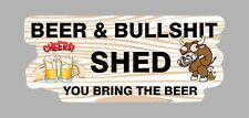 BEER & BULLSHIT SHED STICKER FOR MANCAVE TOOLBOX WELDER SHED FRIDGE ETC