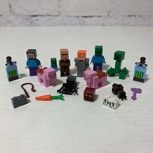 Genuine Lego Minecraft Assorted Minifigures + Extras Bundle.