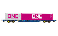 Hornby R6956 OO Gauge Tiphook, KFA Container wagon, 93367, with 20' and 40' ONE