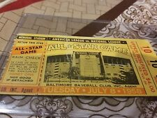 Baltimore memorial stadium 1958 mlb allstar game ticket stub