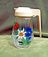 "Vintage UWO Glass Restaurant Style Creamer Painted Flowers 5"" Western Germany"