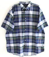 Polo Ralph Lauren Big Tall Mens Blue Green Plaid S/S Button-Front Shirt NWT XLT