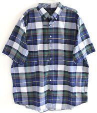 Polo Ralph Lauren Big Tall Mens Blue Green Plaid S/S Button-Front Shirt NWT 3XLT