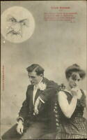 Man in the Moon French Couple Romance Pretty Woman c1905 Postcard