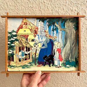 1960er Felicitas Kuhn Hexen-Käfig 28x22x2cm Märchen Bild Kind Pappe+Holz Alt RAR