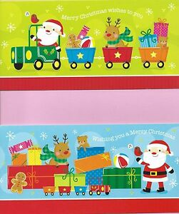 Christmas Cards Slim Pack of 10 Cards 2 Cute Designs with White Envelopes (train