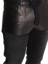 $1K PIERRE BALMAIN Black COATED Faux Leather JEANS Slim 7-POCKET Made in Italy