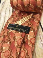 Ermenegildo Zegna Neck Tie Copper Orange Geometric Silk Italy 3.5 W x 60 L