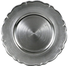 """NEW Metallic Silver Scroll Charger Plates 13"""" 4-Pack"""