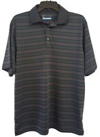 PGA Tour Gray And Green Striped Short Sleeve Golf Polo Shirt Size M