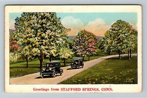 Stafford Springs CT, Scenic Greetings, Vintage Connecticut c1929 Postcard