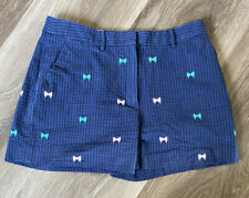 Brooks Brothers Red Fleece Womens Navy Blue Seer Sucker Shorts With Bows, Size 4