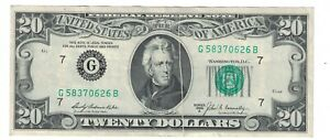 1969 A $20 DOLLARS BILL CHICAGO ILLINOIS GUTTER FOLDS ERROR