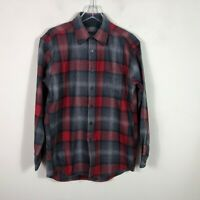 Pendleton Flannel Men's M Red Buffalo Plaid Long Sleeve Button Front Virgin Wool