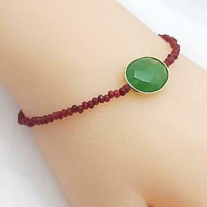 Genuine 16.80ctw Emerald & Ruby 14K Yellow Gold 925 Silver Beads Bracelet 3.5g