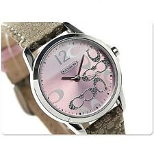 NWT Coach Women's Watch Brown Khaki Leather Silver PINK CLASSIC 14501621 $195