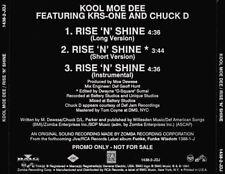 Kool Moe Dee: Rise 'N' Shine PROMO w/ Artwork MUSIC AUDIO CD KRS-One Chuck D 3tk