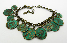 "Vintage Style Travel Coins Bracelet 7"" long + extension"